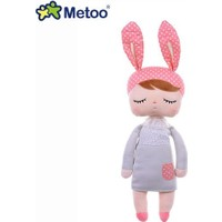Metoo Angela Peluş Tavşan Pembe Bere Gri Elbise Sevimli Peluş Oyuncak