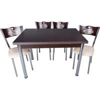 Evistro Açılır Ahşap Mutfak Masa Sandalye Takımı 4+1 Venge
