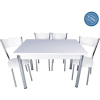 Evistro Açılır Ahşap Mutfak Masa Sandalye Takımı 6+1 Beyaz