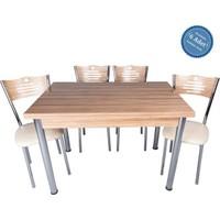 Evistro Açılır Ahşap Mutfak Masa Sandalye Takımı 6+1 Samba
