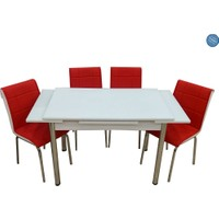 Evistro Cam Mutfak Masa Takımı +6 Sandalye Kırmızı