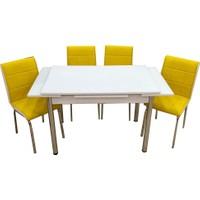 Evistro Cam Mutfak Masa Takımı +4 Sandalye Sarı