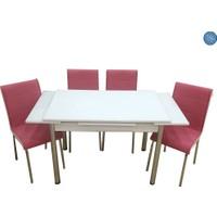 Evistro Cam Mutfak Masa Takımı +6 Sandalye Pembe
