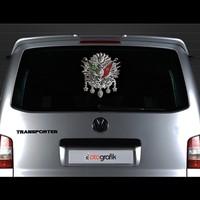 Otografik - Osmanlı Tuğra Arma Oto Stıcker 30X30Cm