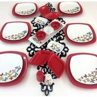 Keramika Dance of Butterfly Red 6 Kişilik Kahvaltı Seti