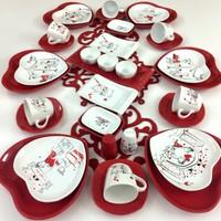 Keramika 6 Kişilik Peri Masalı Kalp Kahvaltı Takımı