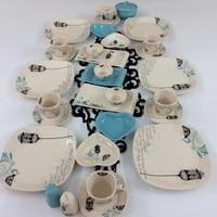 Keramika 6 Kişilik Retro Turkuaz Kahvaltı Takımı