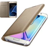 Teknoarea Samsung Galaxy NOTE 5 Suni Deri Cüzdan Kılıf Flip Wallet Gold