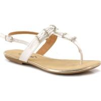 Ahs Beyaz Taşlı Parmak Arası Sandalet