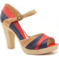 Caprice Ultimate Bej Lacivert Kırmızı Topuklu Kadın Ayakkabı