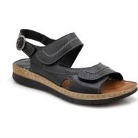 Comfort Deri Ortopedik Siyah Kadın Sandalet
