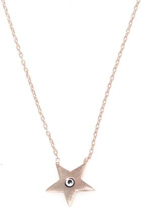 Nusret Takı 925 Ayar Rose Gümüş Nazar Boncuklu Yıldız Kolye