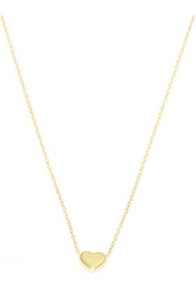 Nusret Takı 925 Ayar Gümüş Mini Kalp Kolye, Sarı