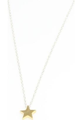 Nusret Takı 925 Ayar Gümüş Minik Yıldız Kolye, Beyaz Ve Sarı