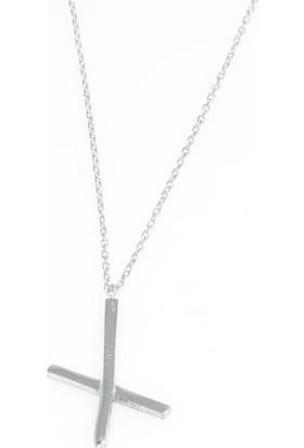 Nusret Takı 925 Ayar Gümüş X Kolye, Beyaz
