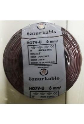 Öznur 6 Mm Nya Kablo Tek Damar Kahverengi 100 Metre