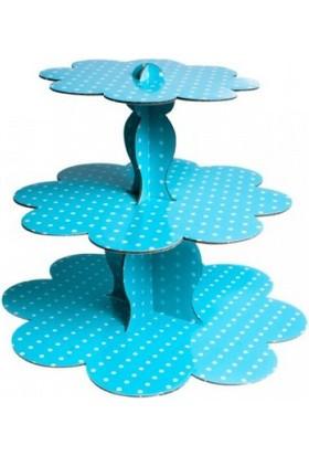 Bebekparti 3 Katlı Karton Muffin & Cupcake Standı Mavi