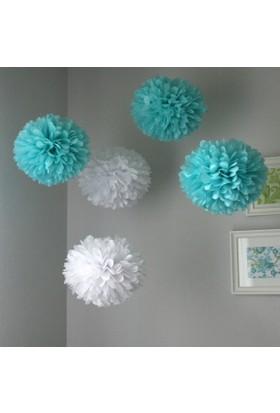 Bebekparti Ponpon Çiçek 5'li Mavi Gri Beyaz