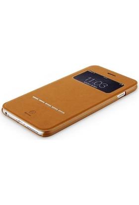 Baseus Apple iPhone 7 Kılıf Baseus Leather Serisi Standlı Manyetik Kapaklı +Cam