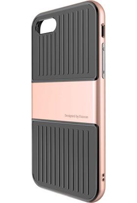 Baseus Apple iPhone 7 Kılıf Baseus Travel Serisi Çift Katmanlı Silikon +Cam