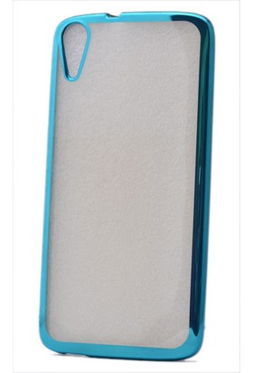 Kny Htc Desire 828 Kılıf Renkli Kenarlı Laser Silikon +Cam
