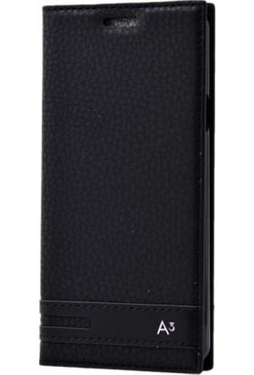 Kny Samsung Galaxy A3 2016 Kılıf Gizli Mıknatıslı Kapaklı+Cam
