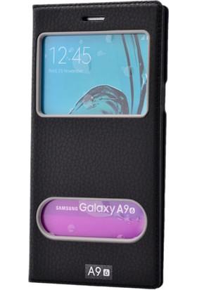 Kny Samsung Galaxy A9 Kılıf Gizli Mıknatıslı Pencereli +Cam