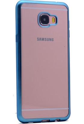 Kny Samsung Galaxy C5 Kılıf Renkli Kenarlı Parlak Silikon +Cam