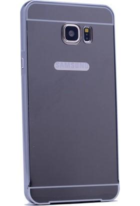 Kny Samsung Galaxy J5 Prime Kılıf Aynalı Metal Bumper Çerçeve +Cam