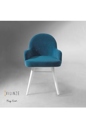 Vilinze Atlas Sandalye, 2 Adet , Mavi Kumaş, Beyaz Ahşap Ayak
