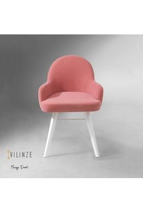Vilinze Atlas Sandalye, 2 Adet , Pembe Kumaş, Beyaz Ahşap Ayak