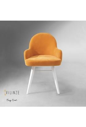 Vilinze Atlas Sandalye, 2 Adet , Sarı Kumaş, Beyaz Ahşap Ayak