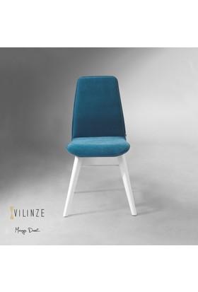 Vilinze Monaliza Sandalye, 2 Adet , Mavi Kumaş, Beyaz Ahşap Ayak