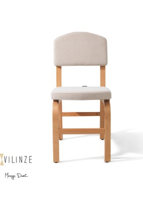 Vilinze Ege Sandalye, 2 Adet , Beyaz Kumaş, Natürel Ahşap Ayak