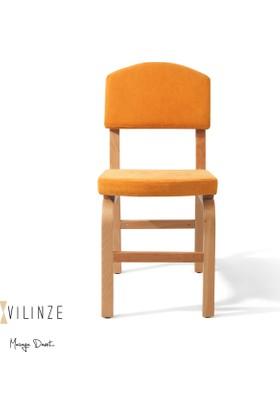 Vilinze Ege Sandalye, 2 Adet , Sarı Kumaş, Natürel Ahşap Ayak