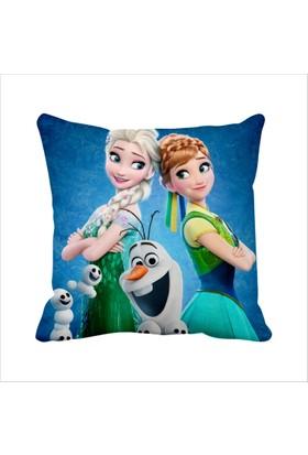 Asr Frozen Karlar Ülkesi Elsa Anna Olaf Saten Yastık