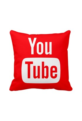 Youtube Kırmızı Sosyal Medya Saten Yastık