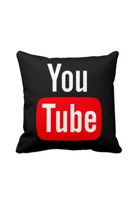 Youtube Siyah Sosyal Medya Saten Yastık