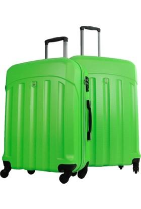 Benetton 2'Lü Büyük Ve Orta Boy Yeşil Set Sert Valiz Seti 0179