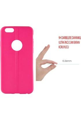 Sunix Apple iPhone 6 - 6S Dikişli Silikon Kılıf Fuşya + 3 Adet Cam Jelatin