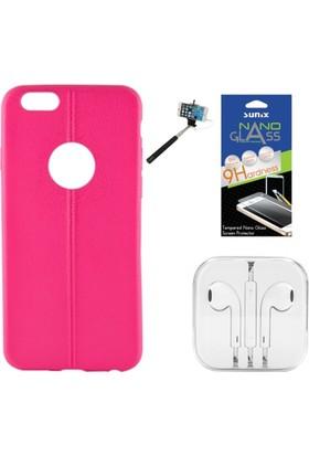 Sunix Apple iPhone 6 - 6S Dikişli Silikon Kılıf Fuşya + Nano Jelatin + Kulaklık + Selfie Çubuğu
