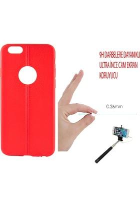 Sunix Apple iPhone 6 - 6S Dikişli Silikon Kılıf Kırmızı + Cam Jelatin + Selfie Çubuğu