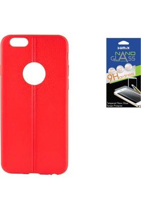 Sunix Apple iPhone 6 - 6S Dikişli Silikon Kılıf Kırmızı + Nano Jelatin