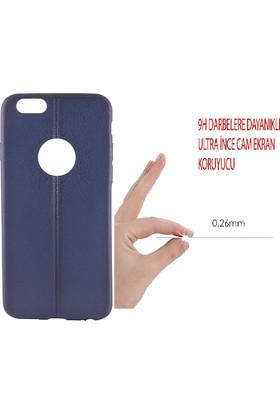 Sunix Apple iPhone 6 - 6S Dikişli Silikon Kılıf Lacivert + Cam Jelatin