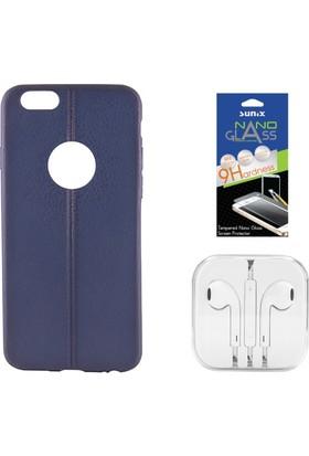 Sunix Apple iPhone 6 - 6S Dikişli Silikon Kılıf Lacivert + Nano Jelatin + Kulaklık