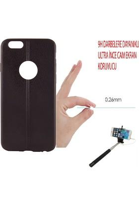 Sunix Apple iPhone 6 - 6S Dikişli Silikon Kılıf Siyah + Cam Jelatin + Selfie Çubuğu