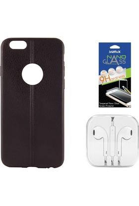 Sunix Apple iPhone 6 - 6S Dikişli Silikon Kılıf Siyah + Nano Jelatin + Kulaklık