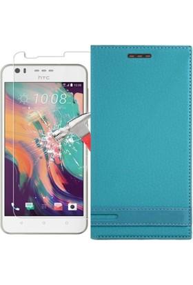 KılıfShop HTC Desire 10 Lifestyle Magnum Kapaklı Kılıf + Ekran Koruyucu