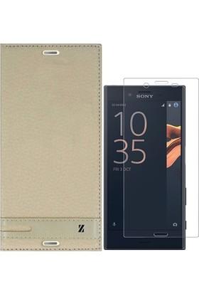 KılıfShop Sony Xperia X Compact Kapaklı Mıknatıslı Kılıf + Nano Ekran Koruyucu