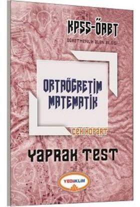 Yediiklim Yayınları KPSS ÖABT Ortaöğretim Matematik Yaprak Test